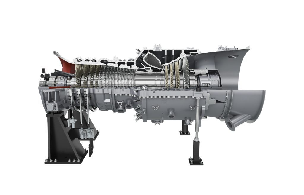 Die Gasturbine des Typs SGT5-4000F, eine Dampfturbine, ein Generator und ein Abhitzedampferzeuger werden das Herzstück des neuen Gas- und Dampfturbinenkraftwerkes in Landivisiau in Frankreich sein. Foto: Siemens